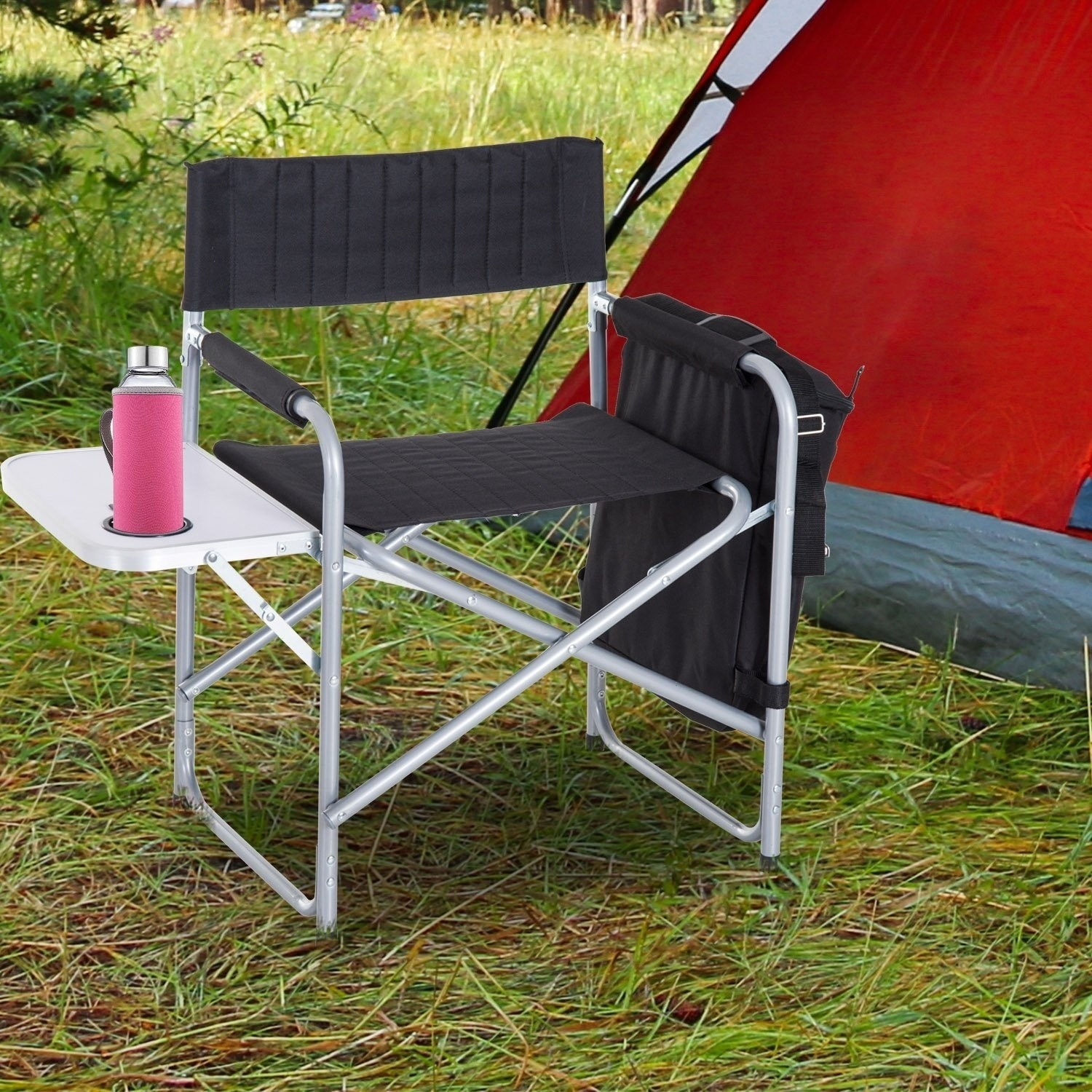 outsunny steel director folding camp chair with side table and cooler black outdoor free shipping today yellow bedside lamps glass top corner sets hampton bay pembrey ikea toy