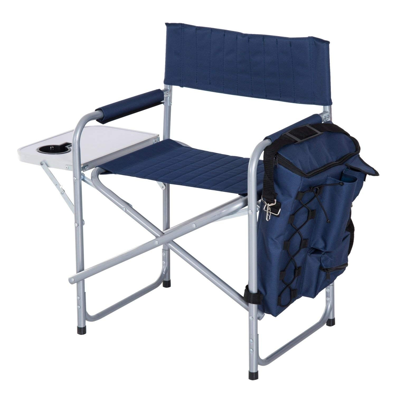 outsunny steel director folding camp chair with side table and cooler dark blue outdoor free shipping today diy living room patterns for quilted runners toppers mirrored drawer
