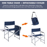 outsunny steel director folding camp chair with side table and outdoor cooler mirror lights patio furniture clearance garden bench seat bunnings world market round acrylic coffee 150x150