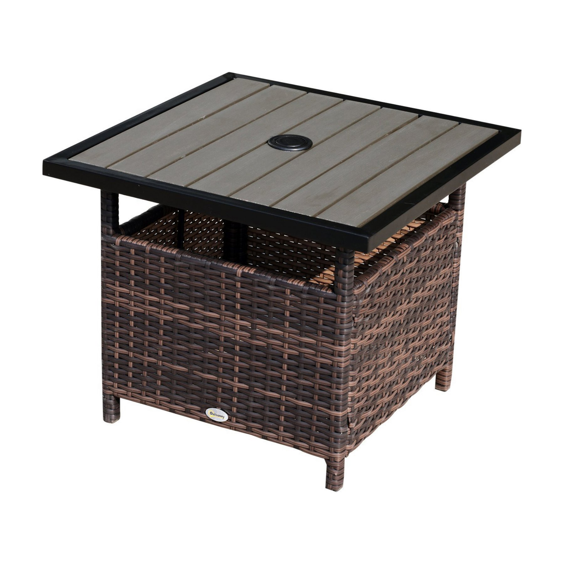 outsunny steel rattan wicker outdoor patio accent end table garden bedside design ideas with ice bucket astoria furniture nite stands dining set round for chest farm style sofa