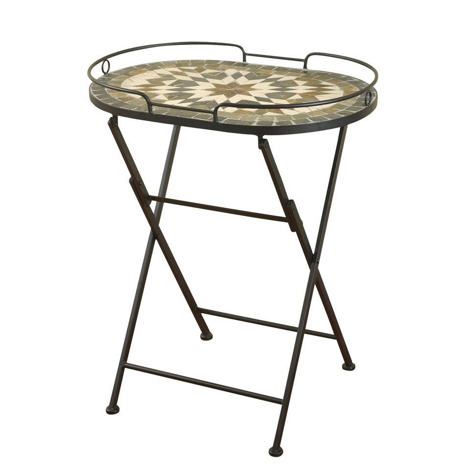 oval folding serving table with metal legs and mosaic stone inlay outdoor accent top nautical ornaments narrow sofas for small spaces bar stools bunnings rectangular marble dining