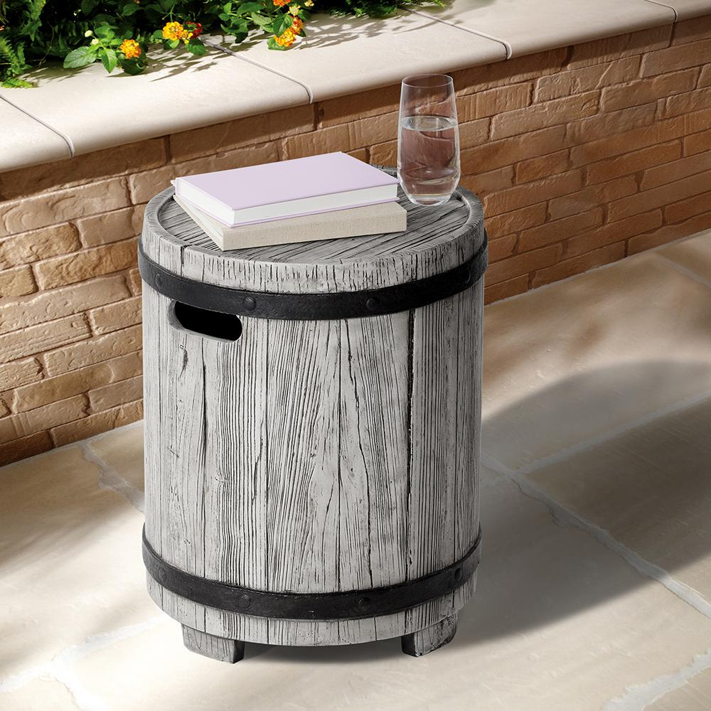 ove decors barrel round stone outdoor side table the tables with drawer white and walnut coffee dining room centerpieces everyday metal glass top pottery barn desk chair seagrass