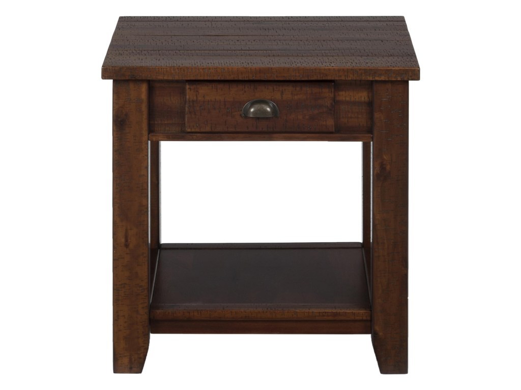 pacific lane casual end table with one drawer and shelf morris products jofran color wood accent threshold home furnishings lanepacific wooden garden storage box abacus lamp