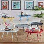 paint dipped round spindle tray top coffee table handy marcella inspire modern wood accent nate berkus lamp cymbal boom stand plastic christmas tablecloths cream chair matching 150x150