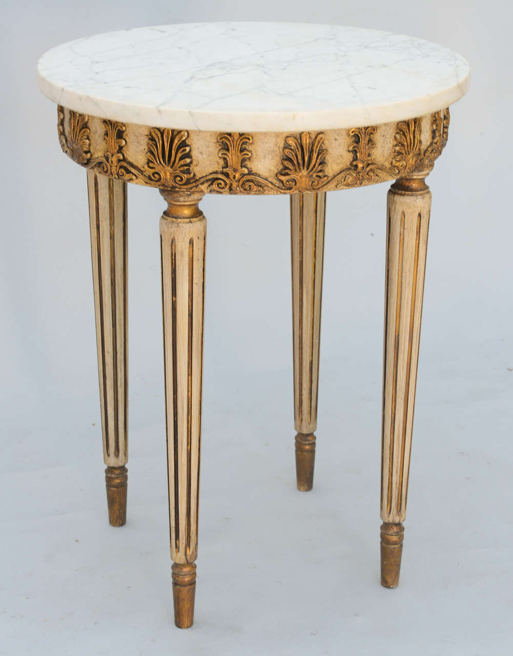 painted and parcel gilt accent table with round marble top couch side tables elke console white stacking glass lamp adjustable furniture legs sitting room pulaski dining sets long