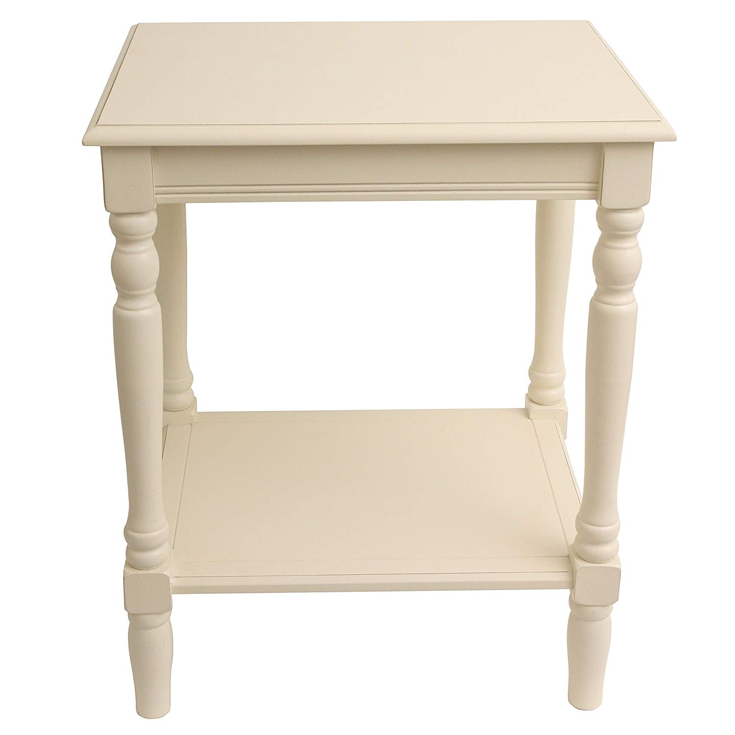painted antique white end accent table with bottom shelf kitchen dining striped tablecloth thin console drawers best patio furniture covers metal umbrella base acrylic side ikea