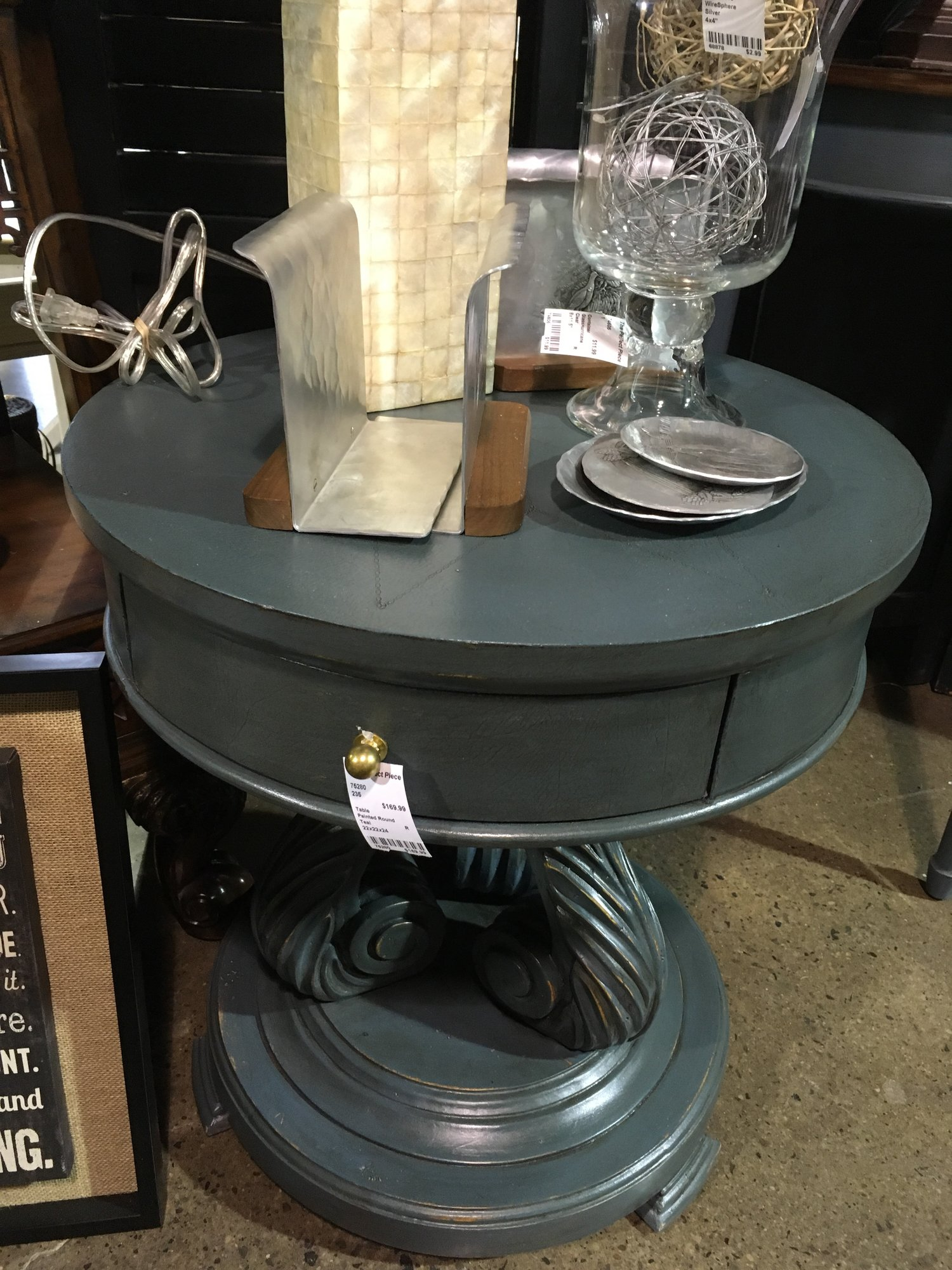 painted round the perfect piece home furnishings metal accent table this super cute would great any room your house mirror with drawers modern wood coffee end lamps goods tables