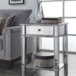 painted silver color small mirrored accent table with drawer and furniture shelves plus flower stand living room spaces ideas christmas covers runners ikea hacks storage above end 150x150
