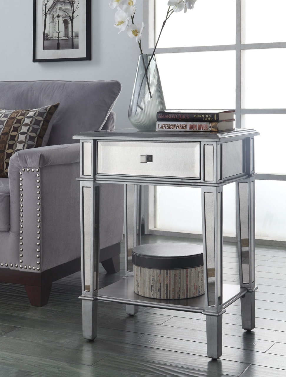 painted silver color small mirrored accent table with drawer and furniture shelves plus flower stand living room spaces ideas christmas covers runners ikea hacks storage above