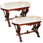 pair antique victorian marble top accent tables antiquarian traders table white round pedestal side blue and oriental lamps glass end pottery barn sofa covers tall wooden plant 150x150