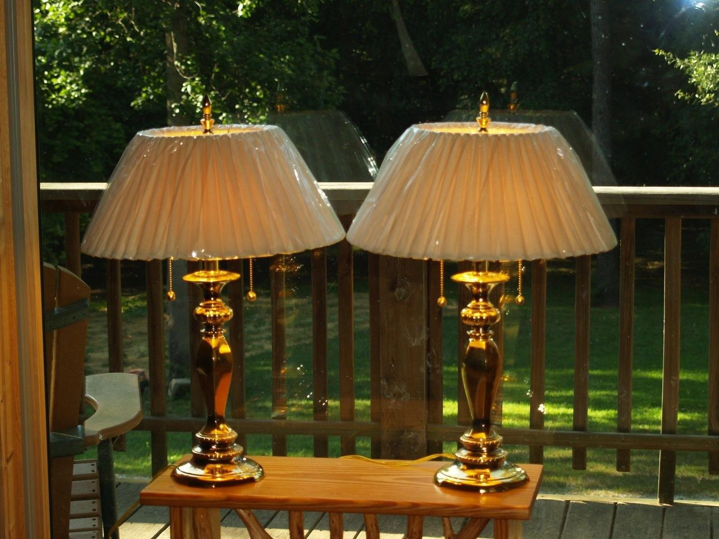 pair burnished brass accent table lamps tall nwob round decorative tablecloth pork pie throne wood pedestal stand stone top coffee ashley stewart furniture pottery barn flooring