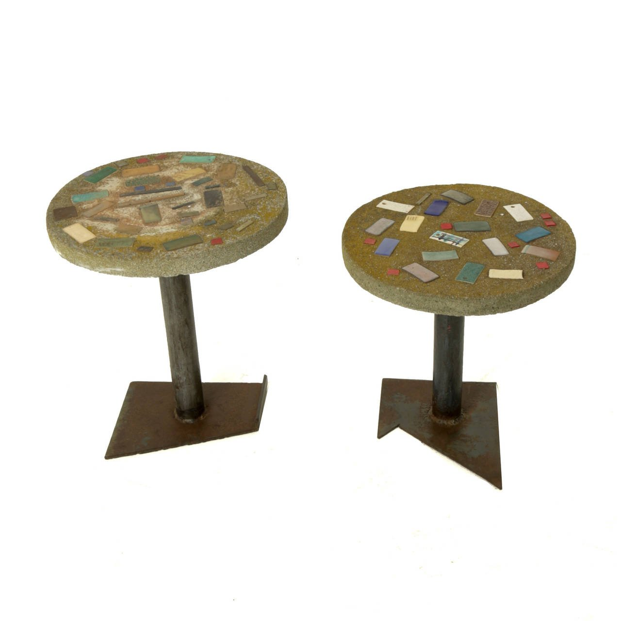 pair ceramic mosaic top concrete accent tables table outdoor american for tall silver lamps round lamp living room seattle lighting bellevue tree trunk coffee painted ideas small