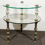 pair goran eglomise hollywood regency side tables antique gold faceted accent table with glass top vintage two tier and end produced large metal coffee kidney shaped pineapple 150x150