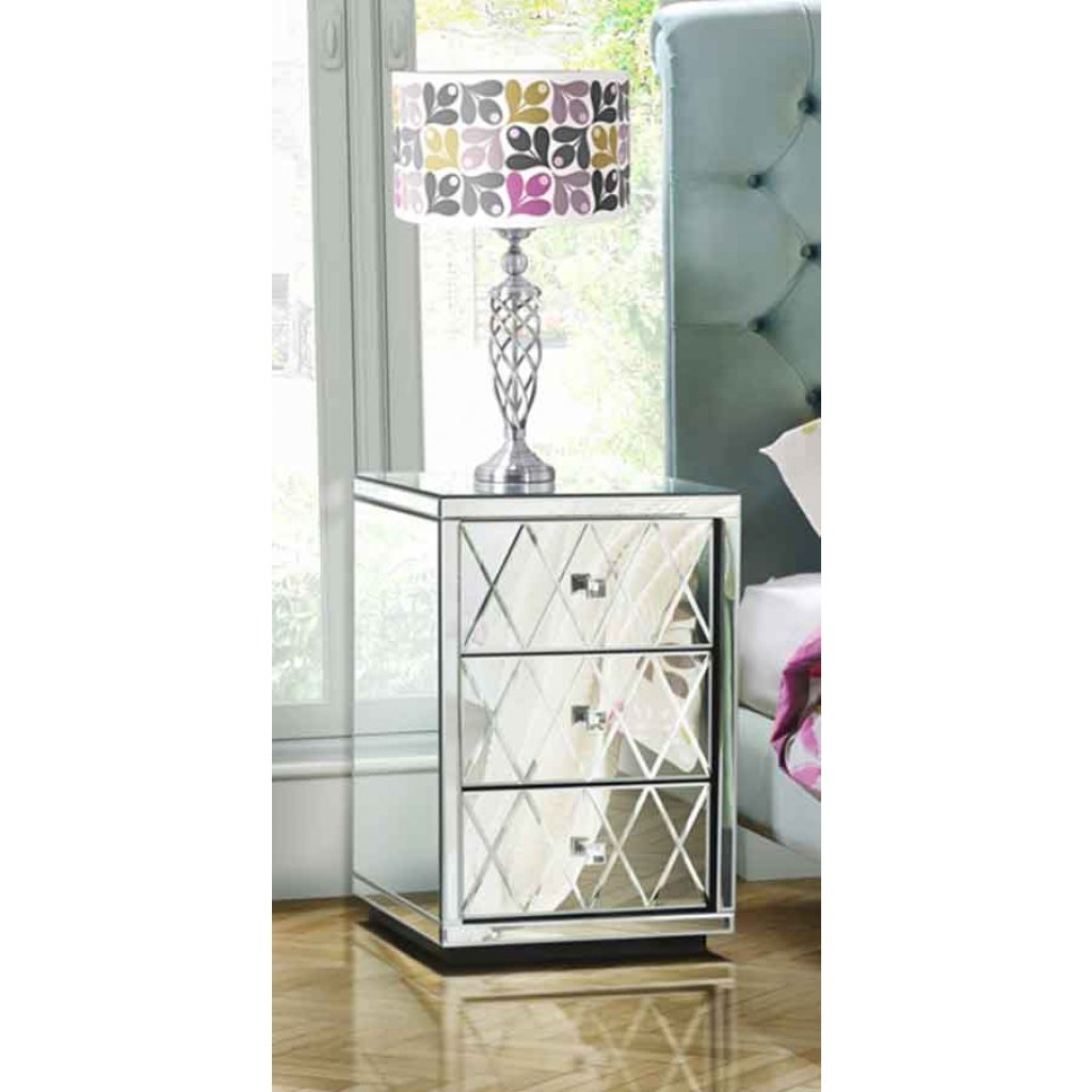 pair knightsbridge mirrored bedside table with diamond accent and tables drawers open home goods dressers asian inspired lamps counter high dining set modern rectangular coffee