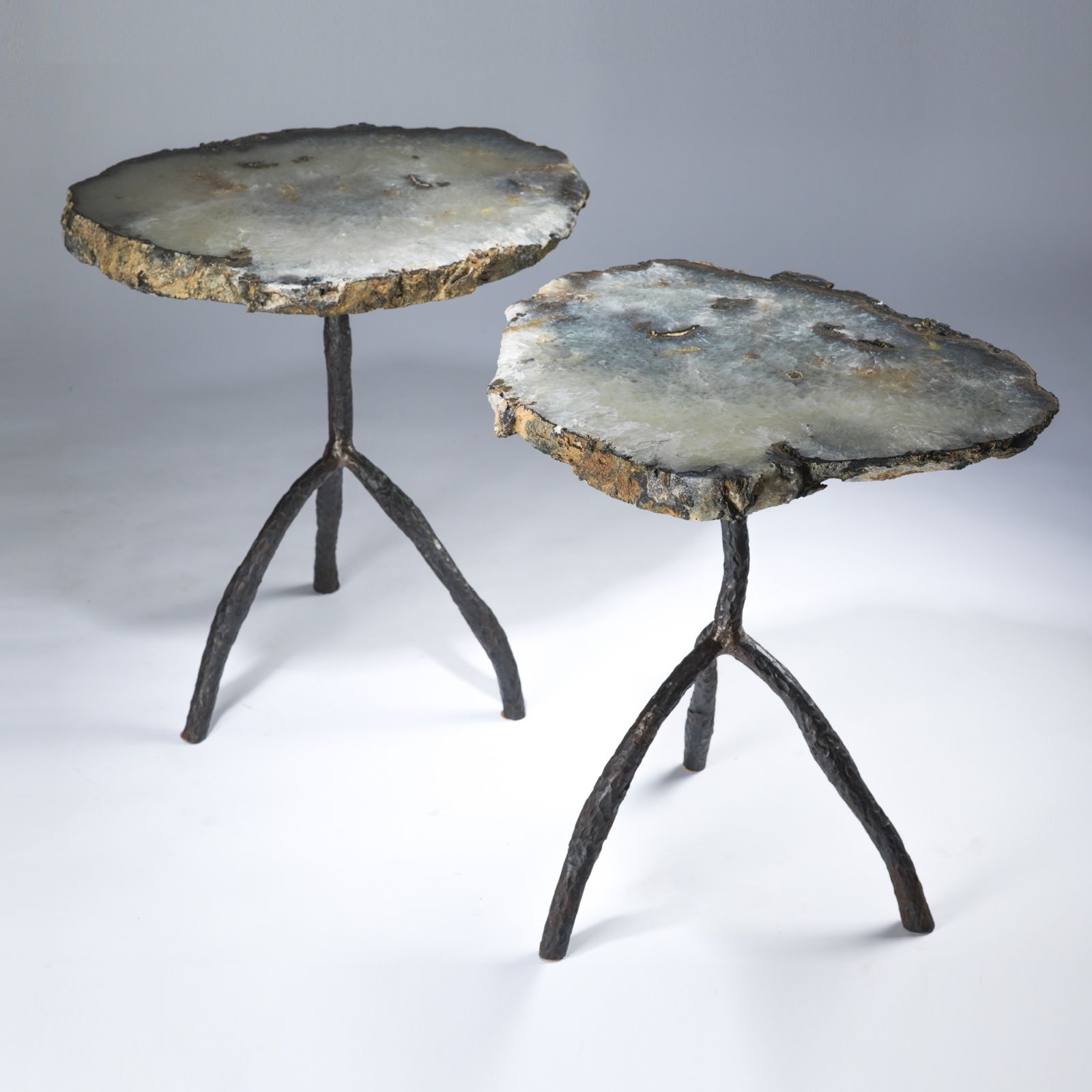 pair large cyan agate slices textured tree three leg side accent table tables white contemporary coffee martin home office furniture unique small end top designs uttermost dice