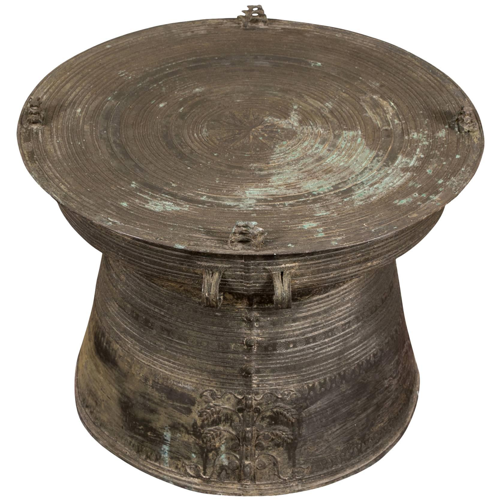 pair large heavy bronze south asian rain drum tables master tibetan accent table standard height sofa end barn wood furniture small dining metal reducer strip granite drop leaf