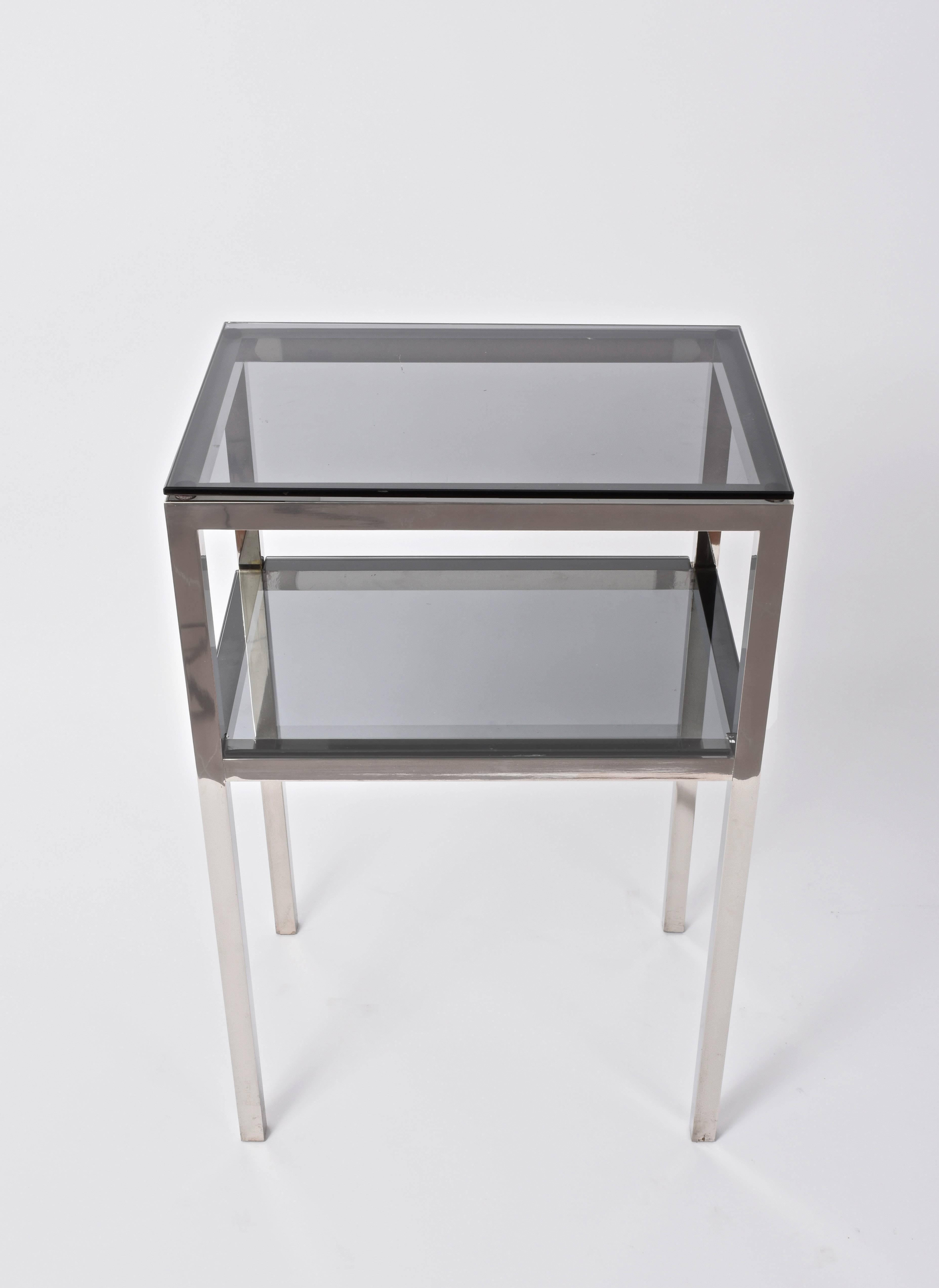 pair mid century two tiered accent tables attributed romeo dsc master chrome metal glass console sofa table with shelf rega for laminate floor door threshold ikea white storage