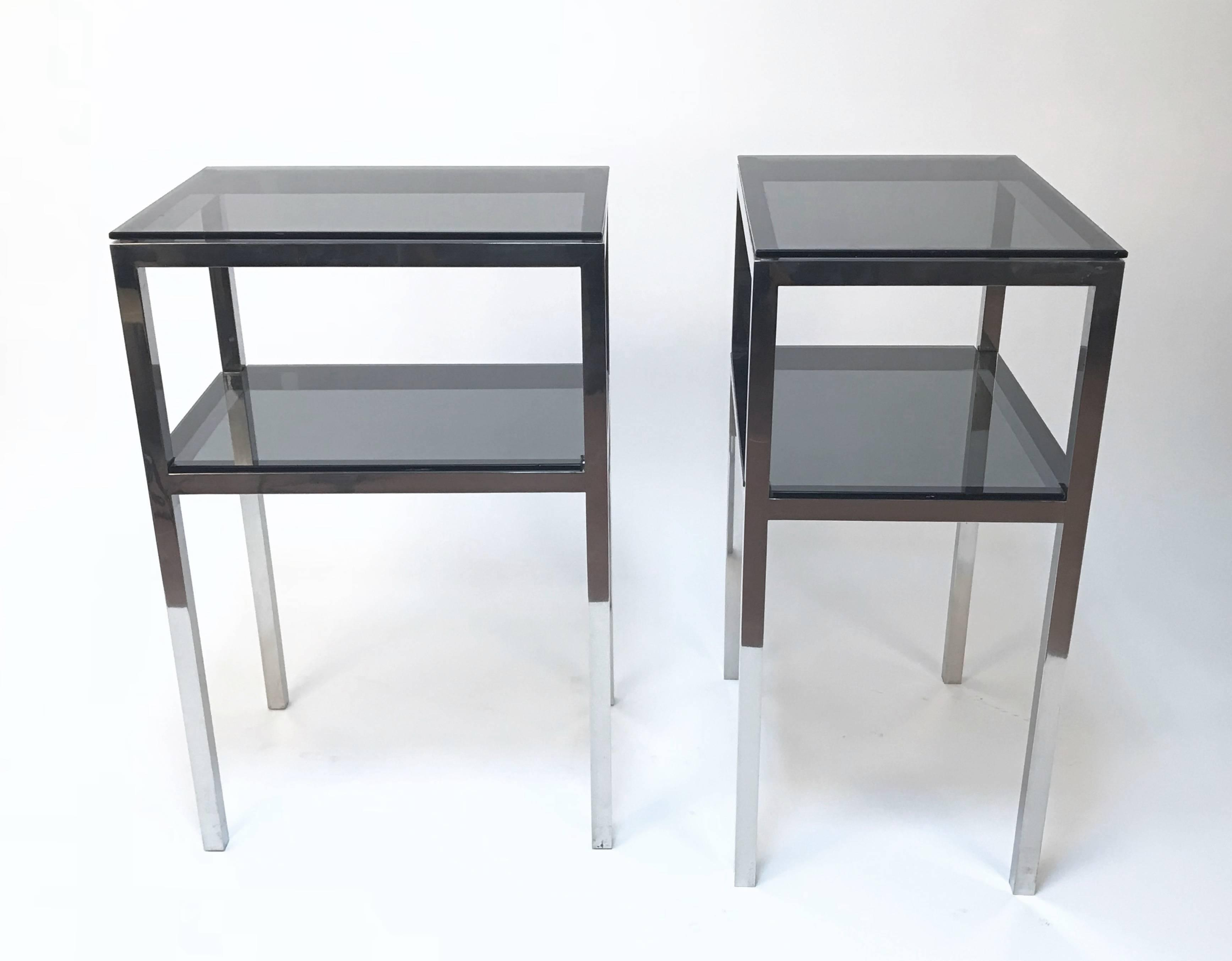 pair mid century two tiered accent tables attributed romeo img master chrome metal glass console sofa table with shelf rega for cupboard decoration purple chair party decorations