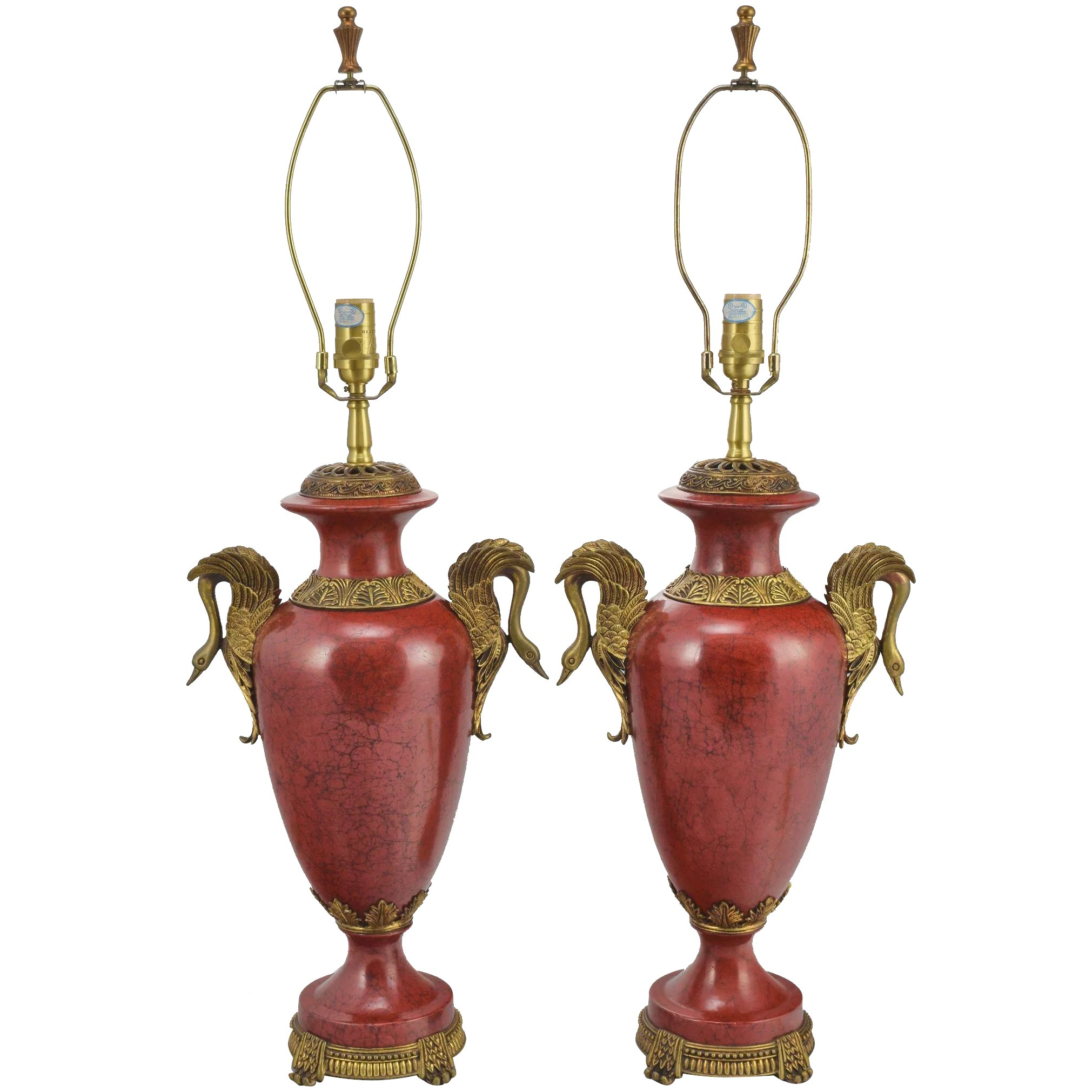 pair oriental accent lamps faux red marble and brass with swans full table click expand pottery barn beds nautical theme bathroom trestle farm bunnings legs pink patio umbrella