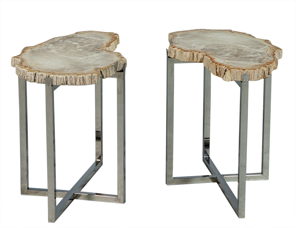 pair petrified wood accent tables carrocel fine furniture table inch end storage ott ikea pier one small chairs with arms pub tops white and brown side hall chests consoles cherry