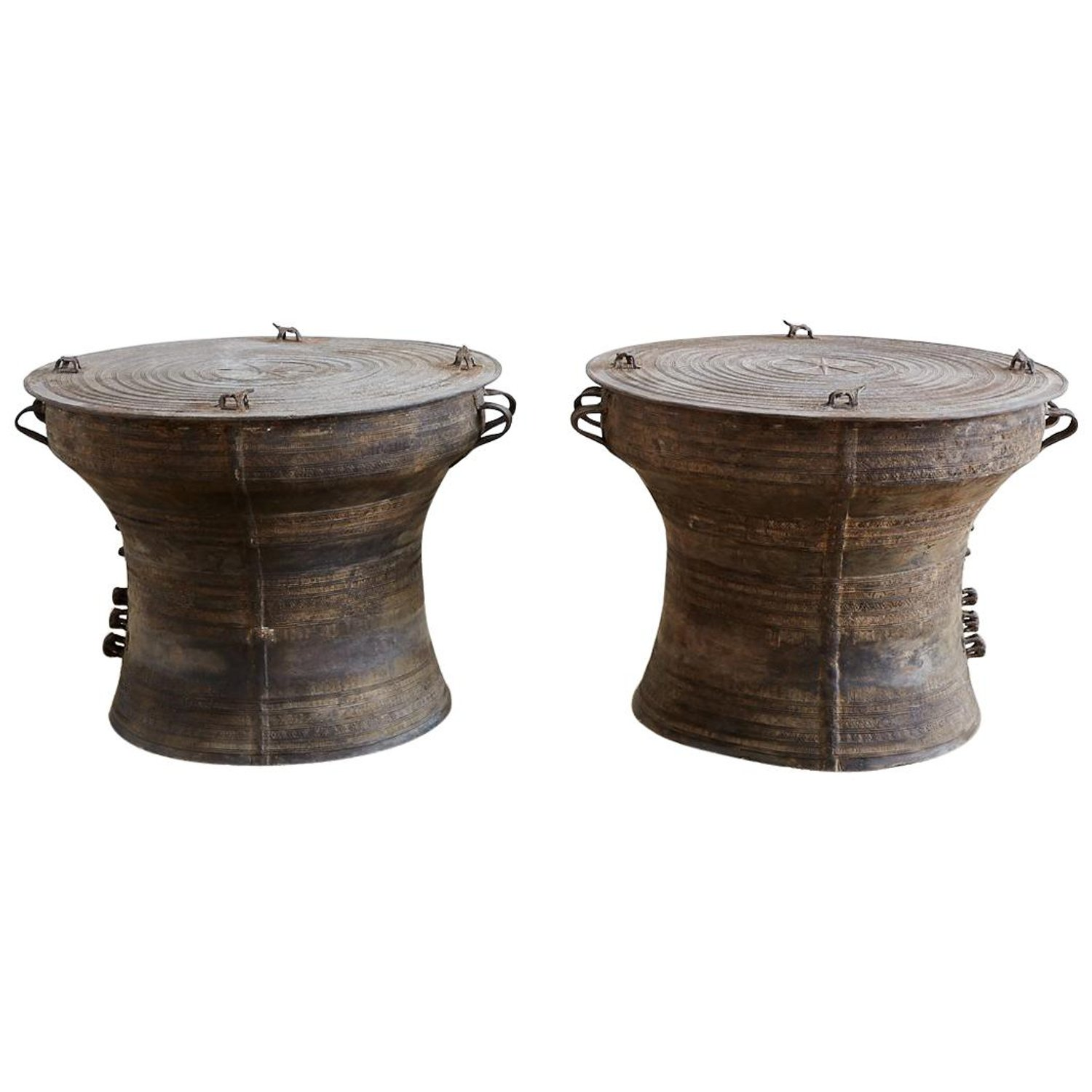 pair southeast asian bronze rain drum tables for master frog accent person bar height table mission style dining furniture sets designer placemats and napkins antique pine runner