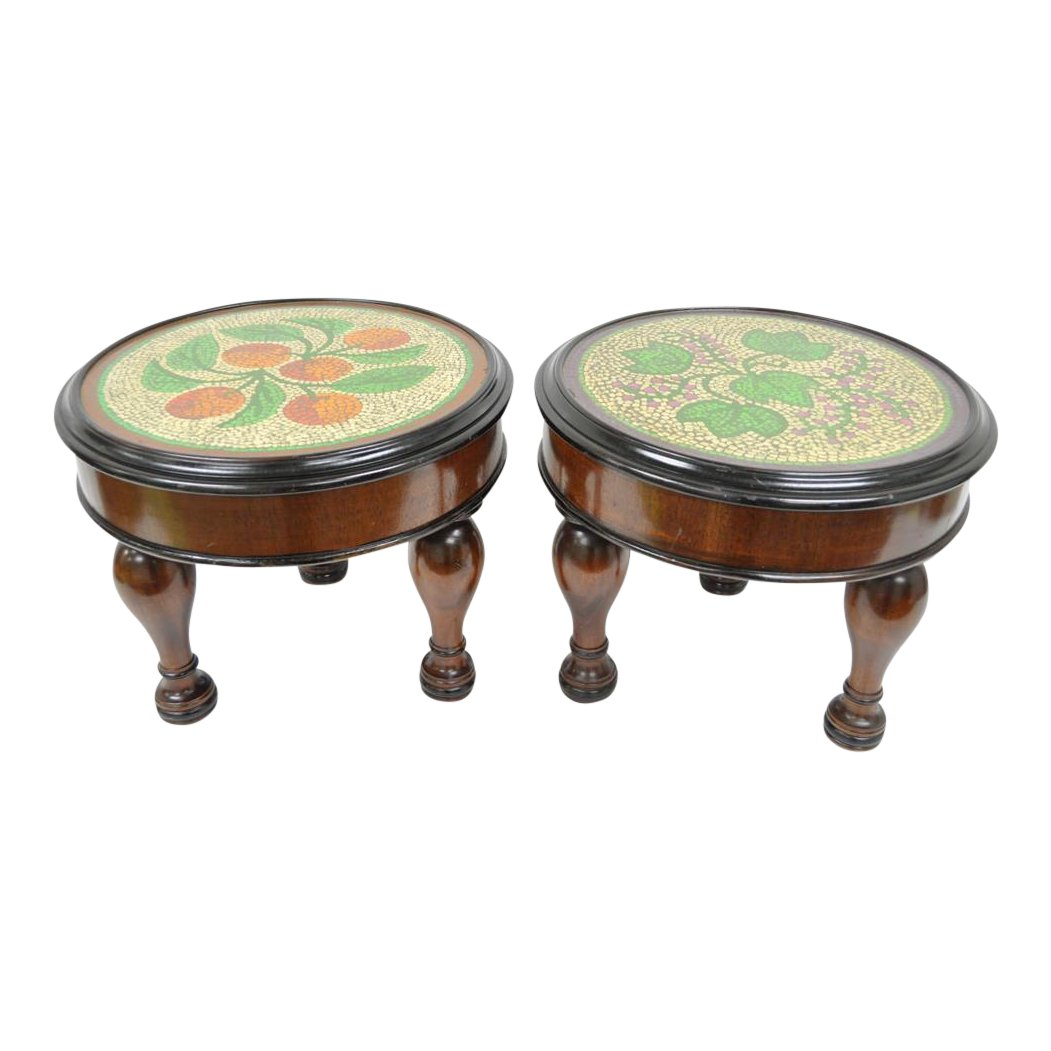 pair vintage empire mahogany painted top low end accent tables stools ott table stool chairish furniture paint seaside bathroom accessories multi colored kohls slipcovers crystal