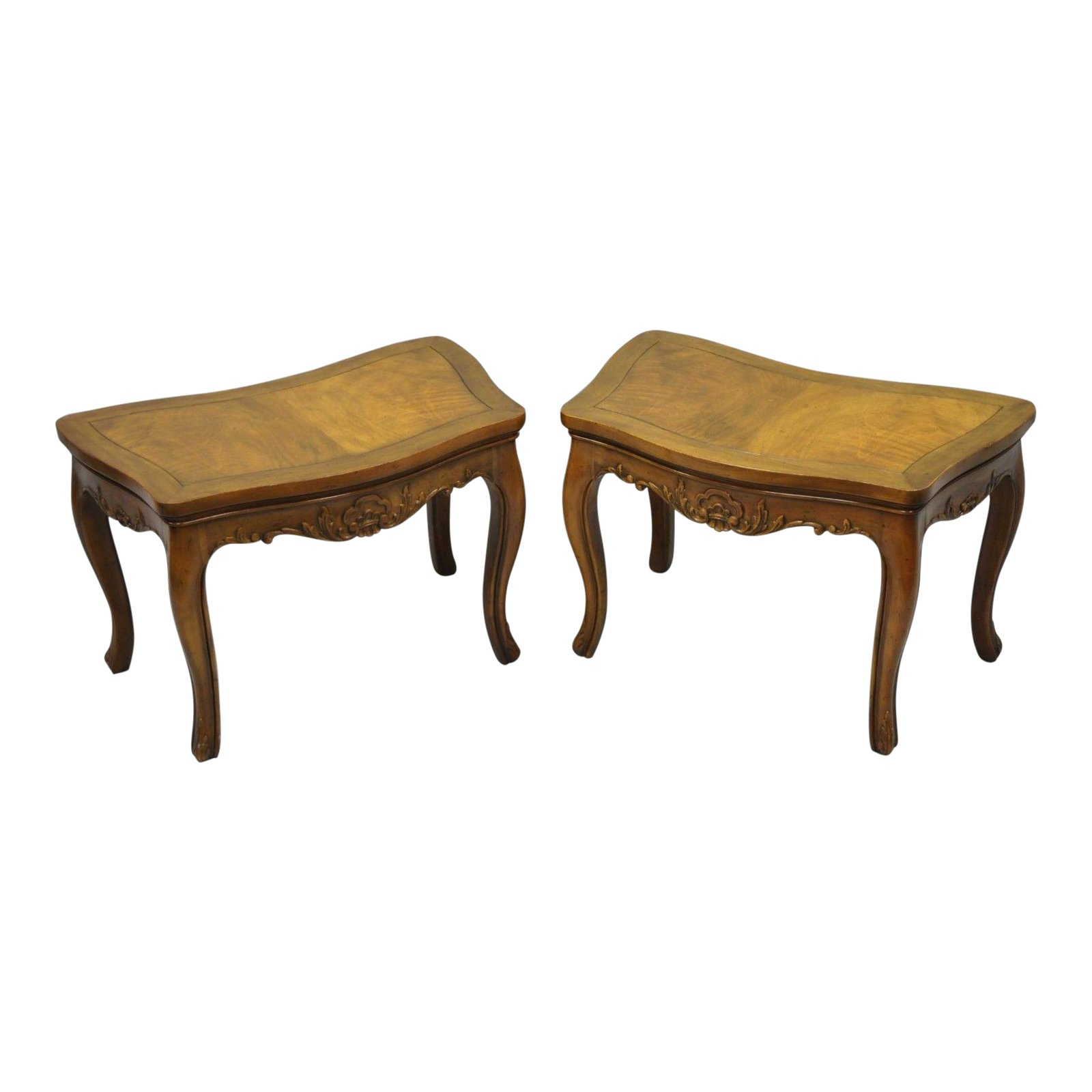 pair vintage walnut low demilune small side accent pedestal end tables attributed baker table chairish inch round tablecloth cotton world market lamps red dining room furniture