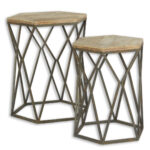 pair wood and metal accent tables perch decor furniture real end bamboo table lamp tablette cool patio umbrellas round garden cover vintage half moon cherry console outdoor chair 150x150