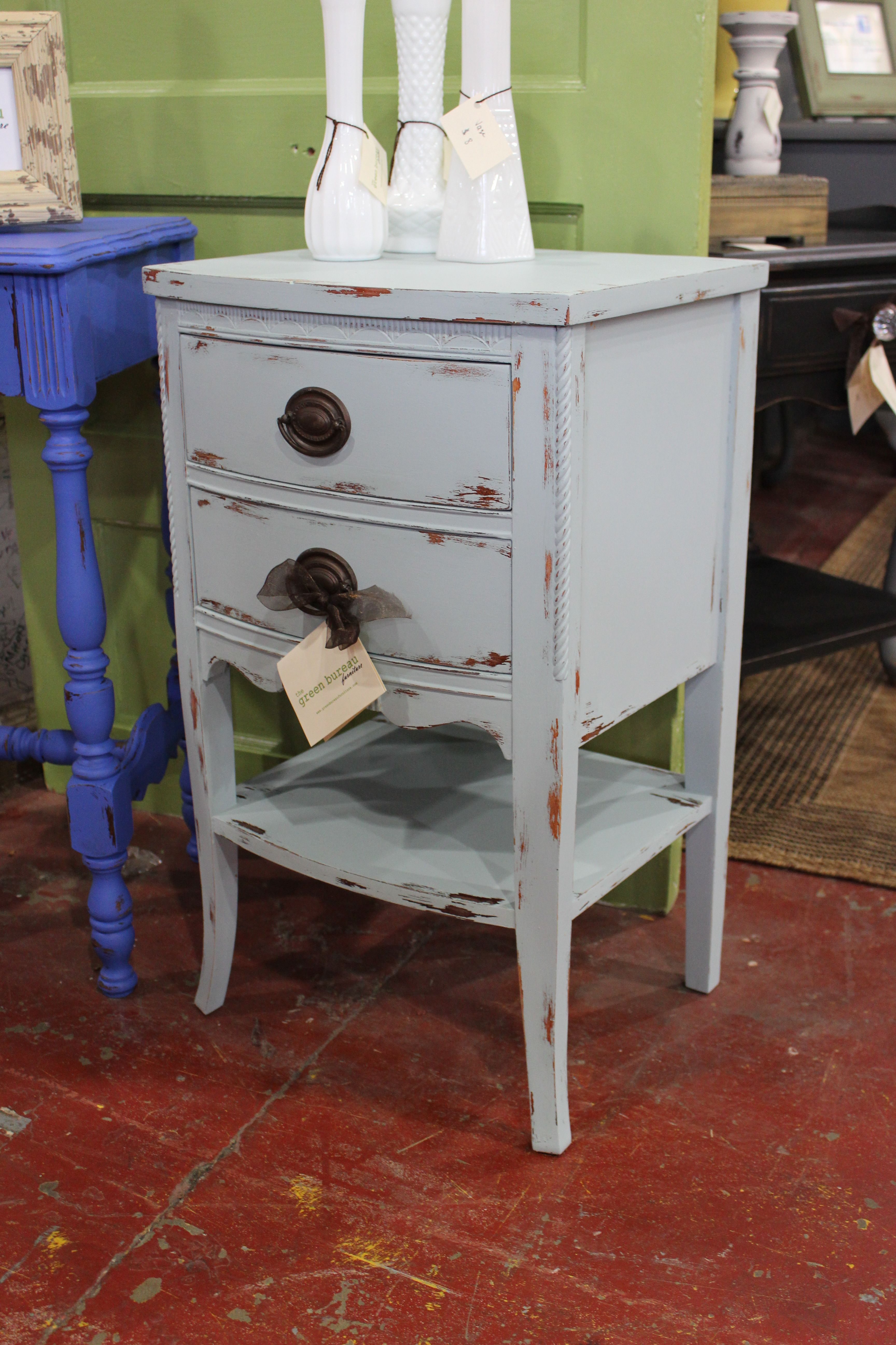 pale blue perfection nice little accent table painted the distressed prettiest shade latex and waxed original hardware was lovely reused nautical light fixtures grey white coffee