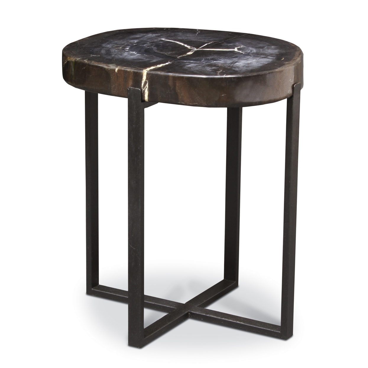 palecek black iron accent table petrified wood large hourglass tall dining room sets canvas patio furniture covers computer potting headboard with lights essentials queen