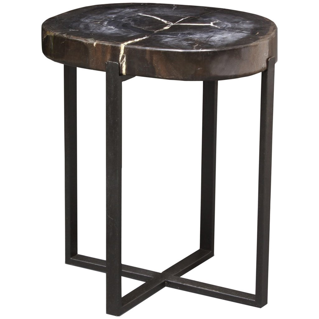 palecek black petrified wood accent table tables benjamin odd coffee bedroom lamp sets barn doors house xmas tablecloths and runners sofa metal square farmhouse oak chairside end