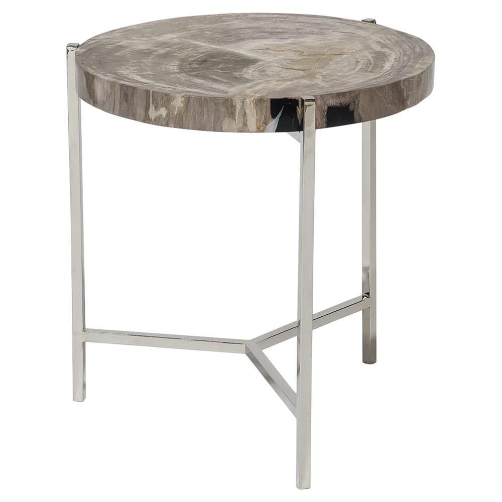 palecek maxwell modern rustic petrified wood metal round side end table product accent kathy kuo home wrought iron legs mudroom furniture trestle best coffee designs tiffany