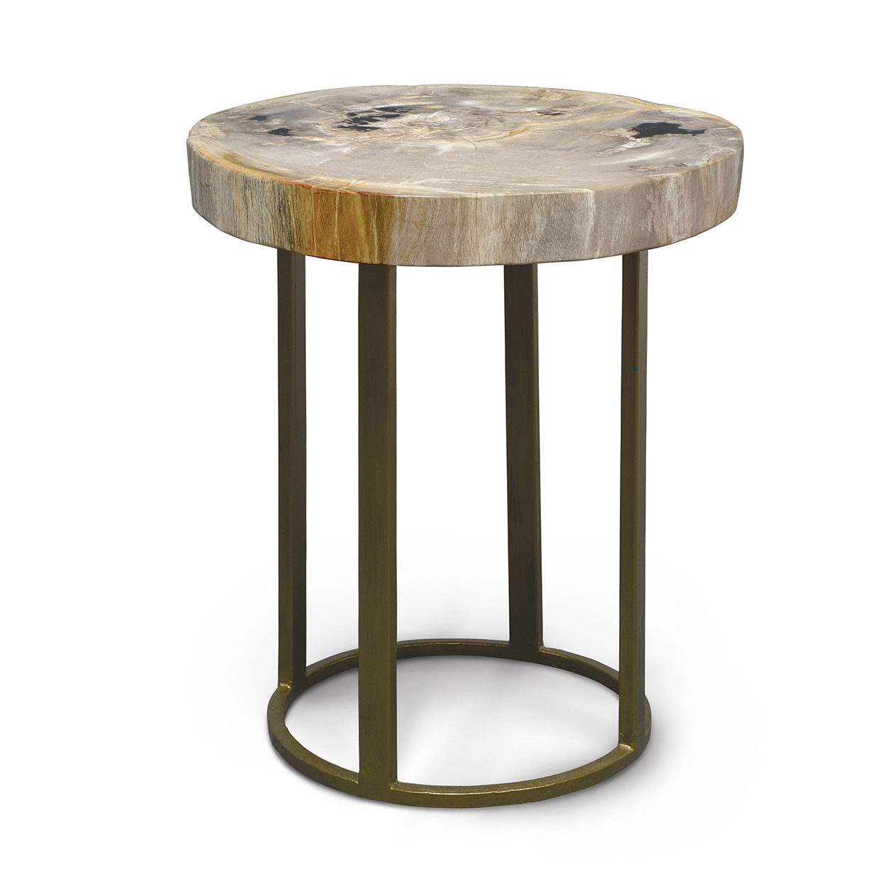 palecek petrified wood accent table slice with round iron base vintage retro dining and chairs wine cabinet lighting seattle pier one mirrored end bronze glass side narrow console