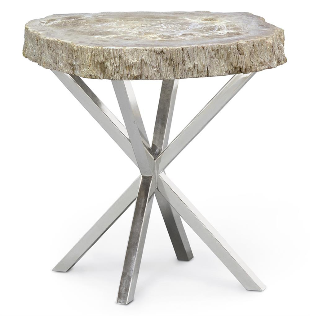 palecek petrified wood industrial loft steel side table kathy kuo home product accent pier one mirrored end ideas for living room inch furniture tulsa hampton bay west elm box