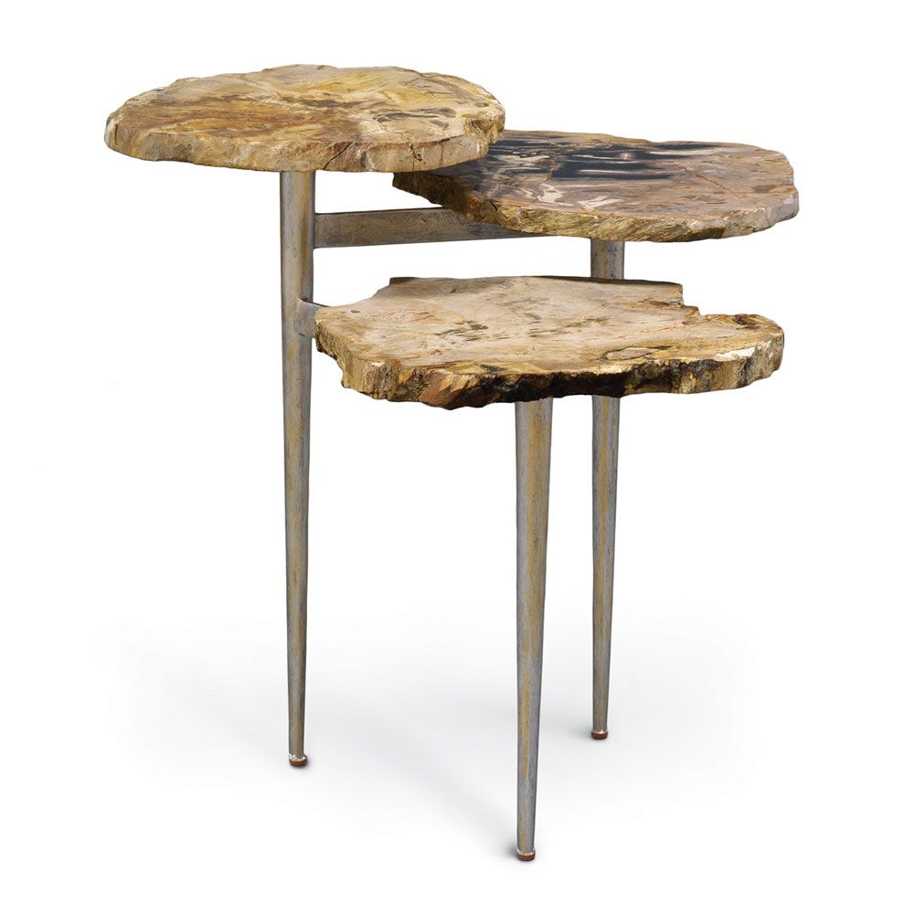 palecek petrified wood tiered table furniture you love accent cherry wedge end trestle bath and beyond instant pot round plastic tables walnut bedside counter height sets white