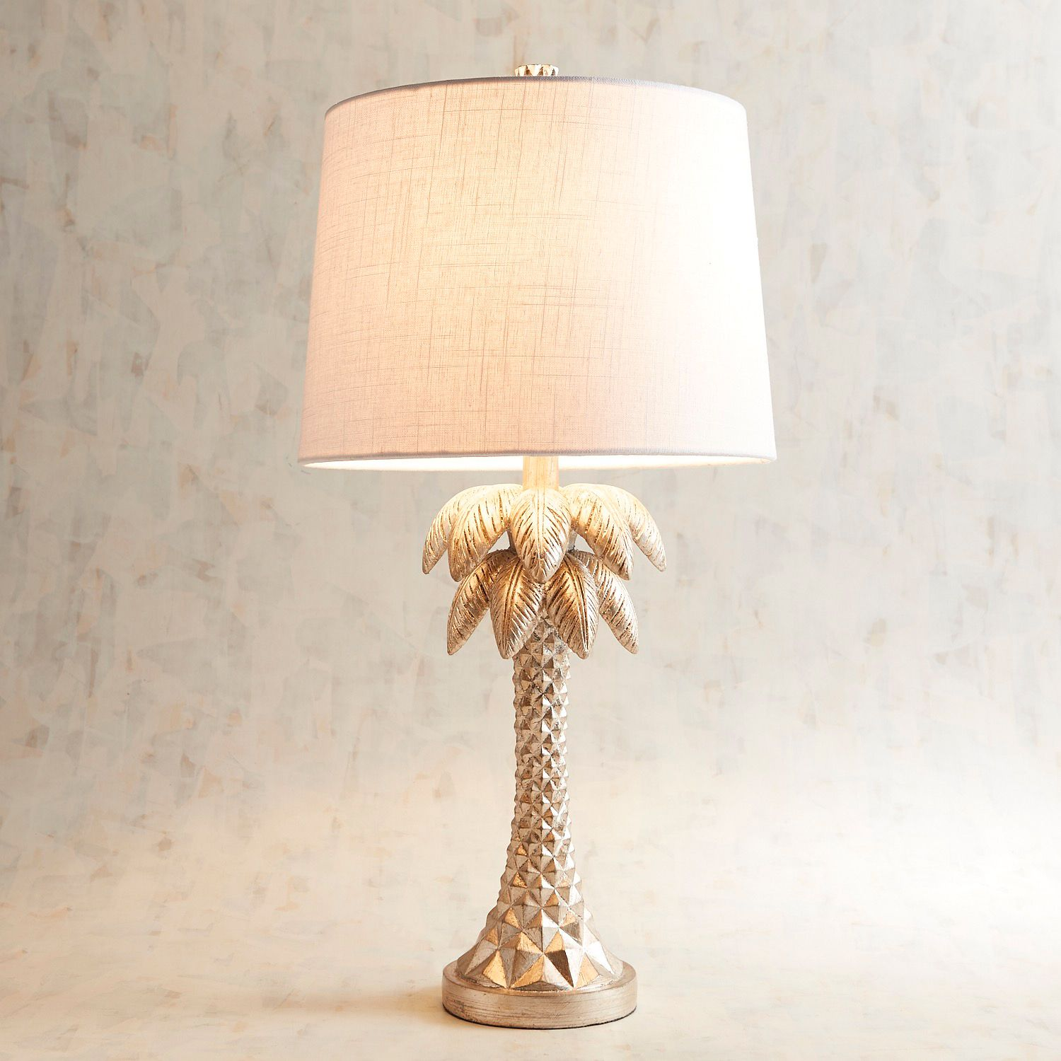palm tree champagne table lamp pier imports one accent lamps narrow tray drop leaf with folding chair storage cordless for living room cool retro furniture solid wood coffee and