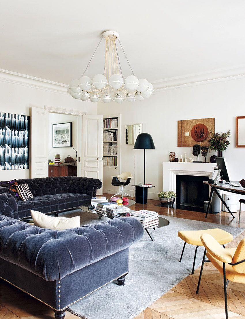 paris apartment sandra benhamou design residential miles redd kidney accent table chesterfield sofas living room blue velvet sofa rattan side glass top ashley furniture bedroom