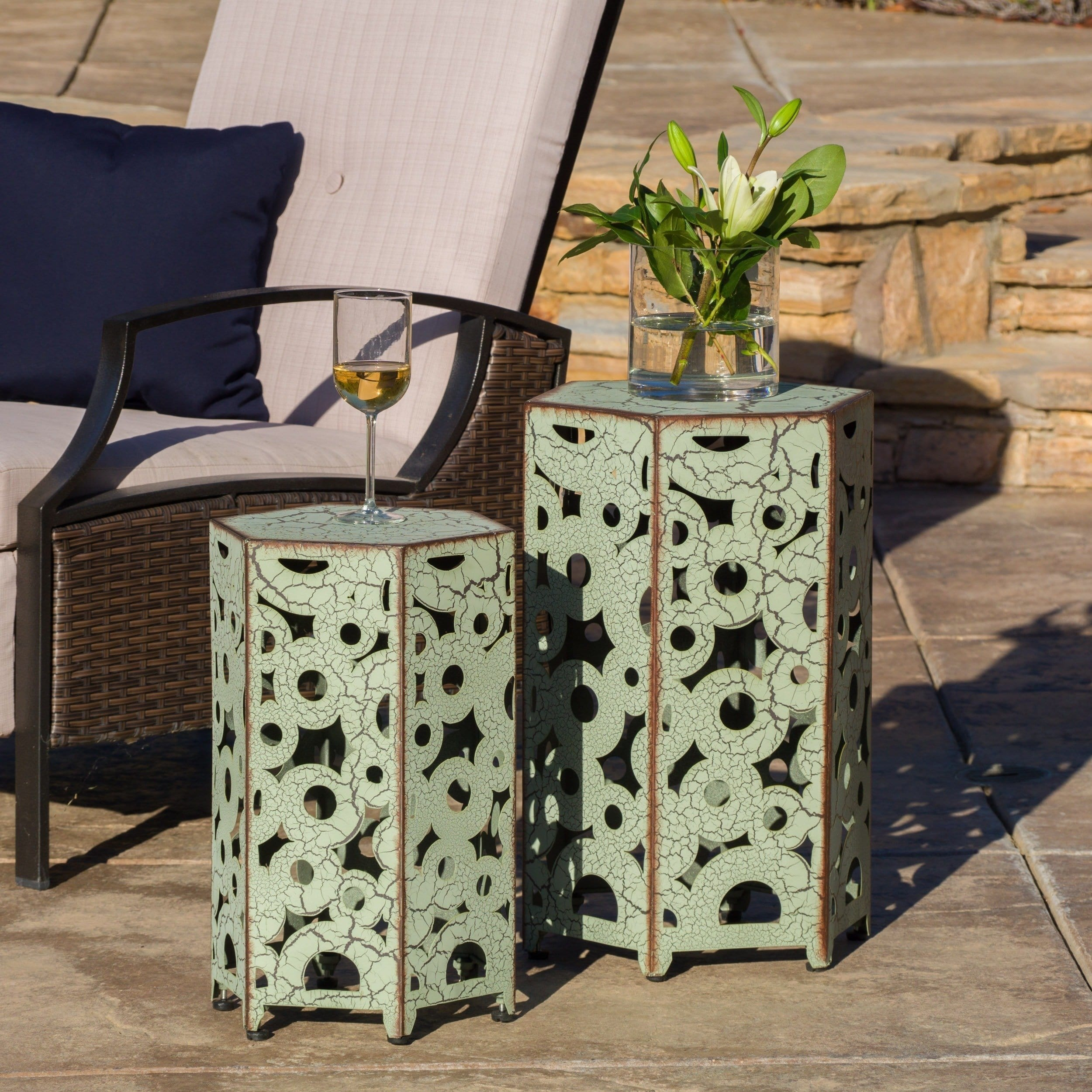 parrish outdoor antique side table christopher knight home set green free shipping today distressed accent tables frosted glass cylinder lamp black with drawer plastic garden