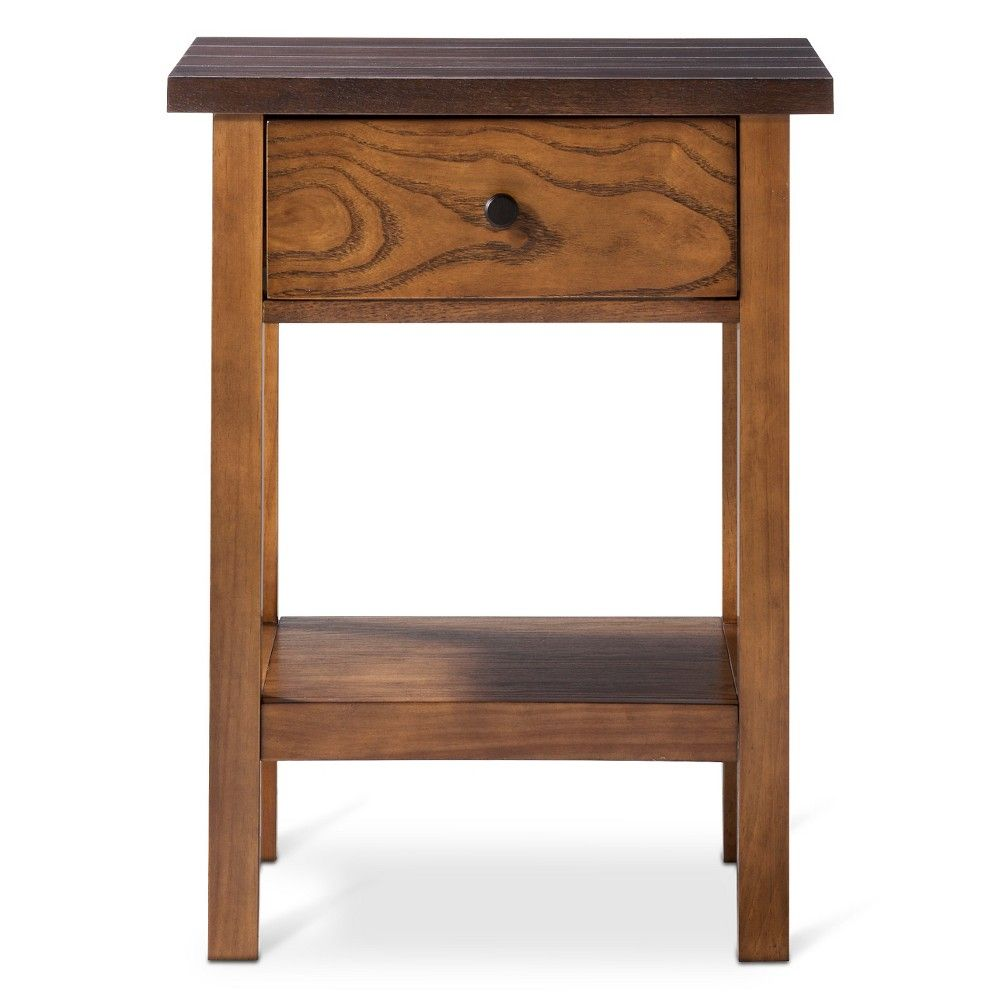 pasadena side table threshold brown tittilating tables accent tan tripod lamp narrow rectangular dining mirrored bedside units white half moon battery house lights pottery barn