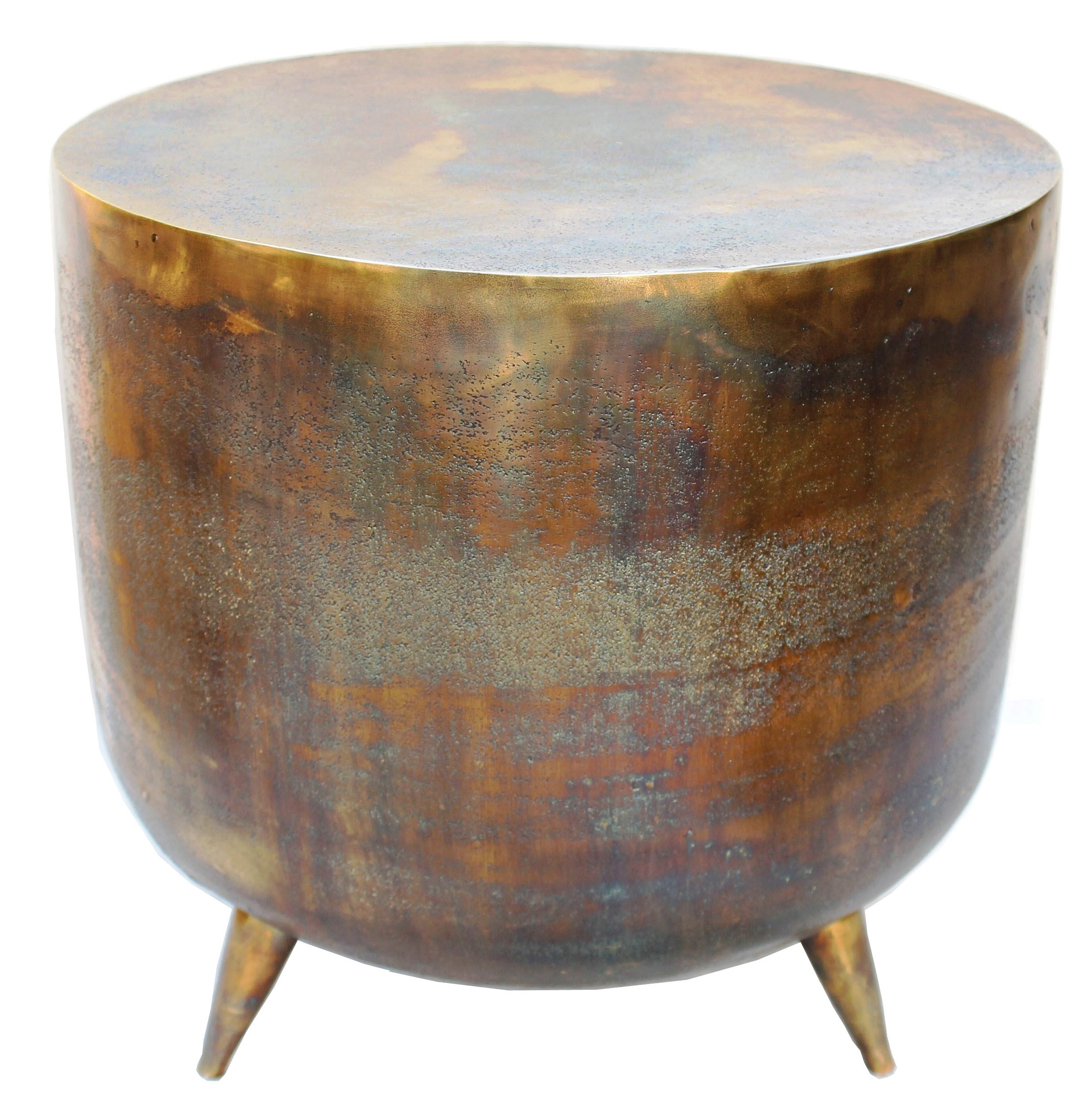 patia accent table distressed brass cylinder drum asian porcelain lamps bar bistro teak green bedside glass drawer pulls tiffany lily lamp shades black marble top end tables tall
