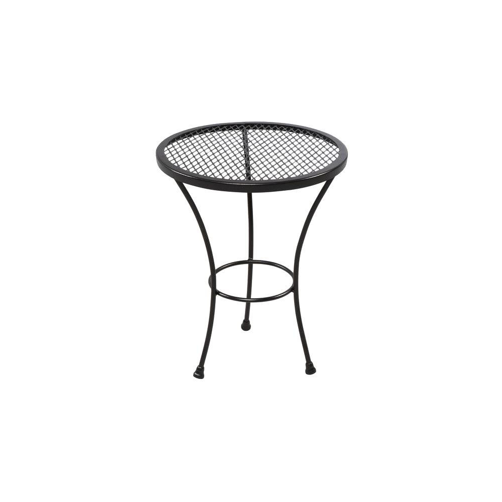 patio accent table durable wrought iron frame with grid mesh tabletop round small cherry end bedroom sets corner furniture black garden bistro ikea storage rack outdoor side
