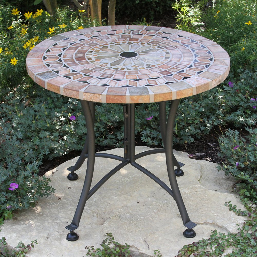 patio accent table outdoor interiors stone and the hardwoods small with umbrella hole groups oval marble tiffany glassware gooseneck lamp nite stands furniture drum set seat