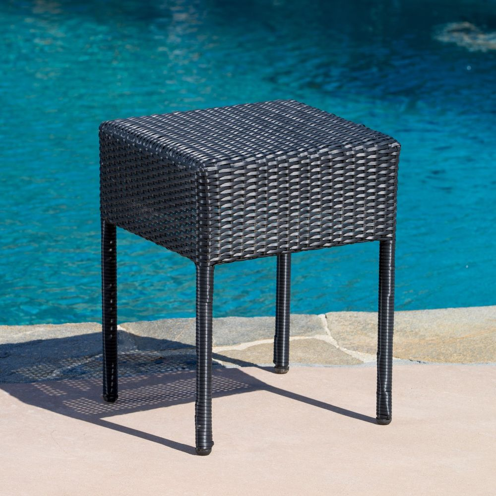 patio accent tables hampton bay pembrey table outdoor furniture black wicker side ikea cube storage battery operated dining light matching lamps mainstays parsons desk with drawer