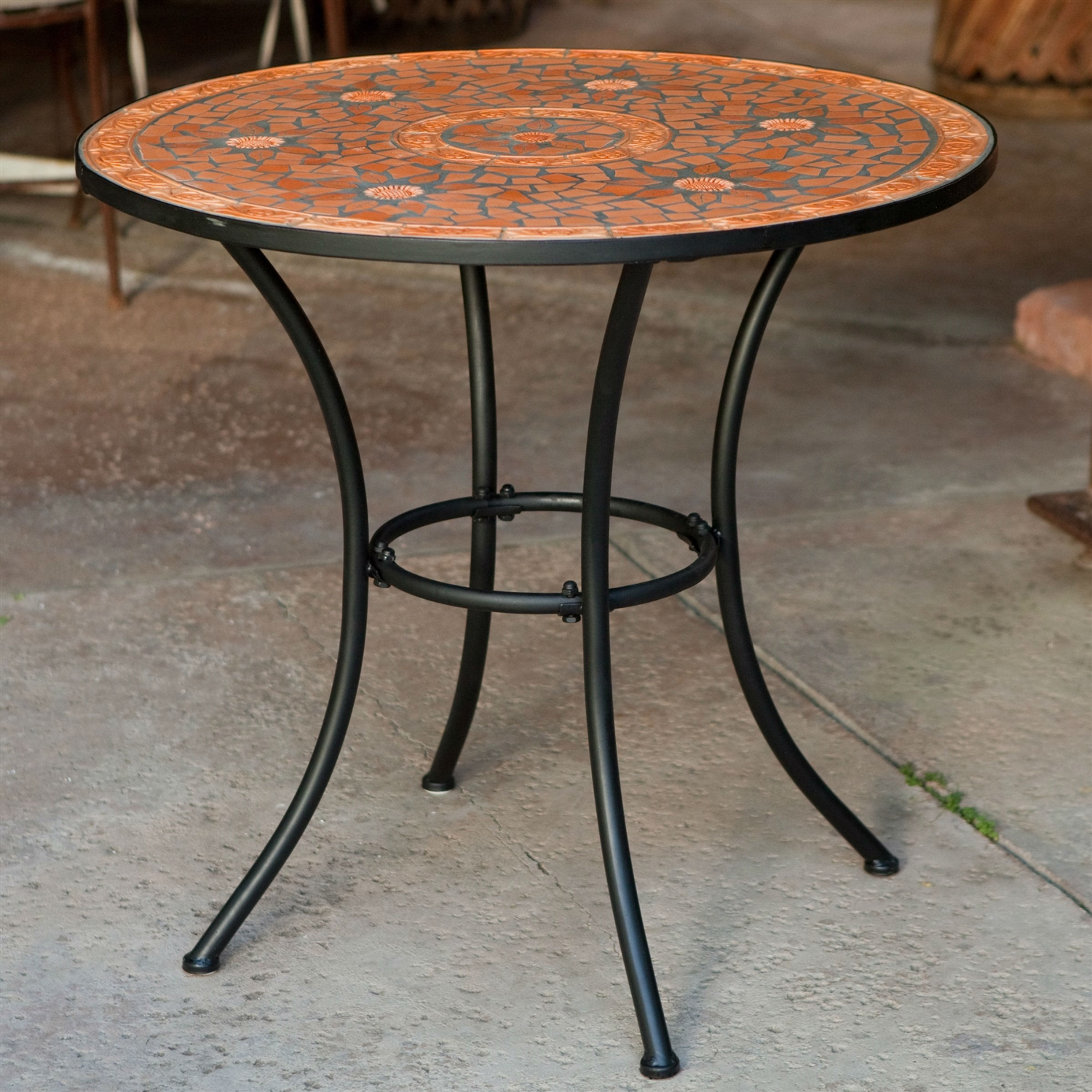 patio alfresco home tremiti mosaic outdoor bistro table elegant round with terracotta tiles and furniture end tables mauriciohm black metal frame garden small iron side plastic