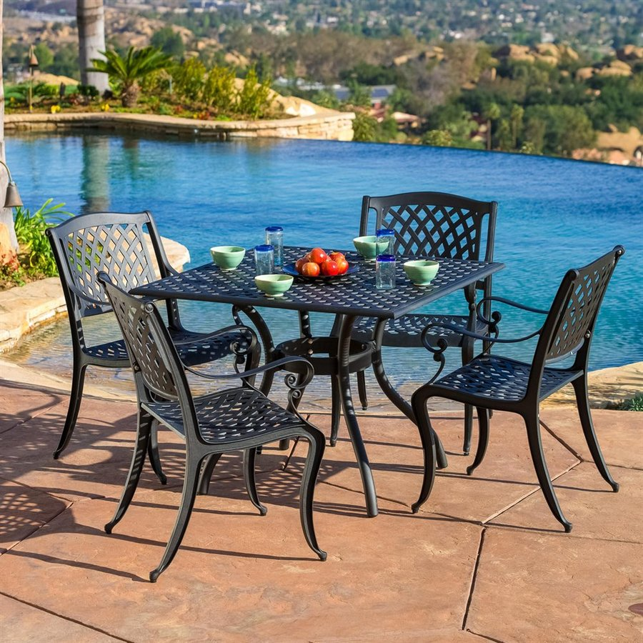 patio dining sets ave six piece fabric chair and accent table set best selling home decor hallandale black metal frame room side teal entryway essentials storage white adjustable