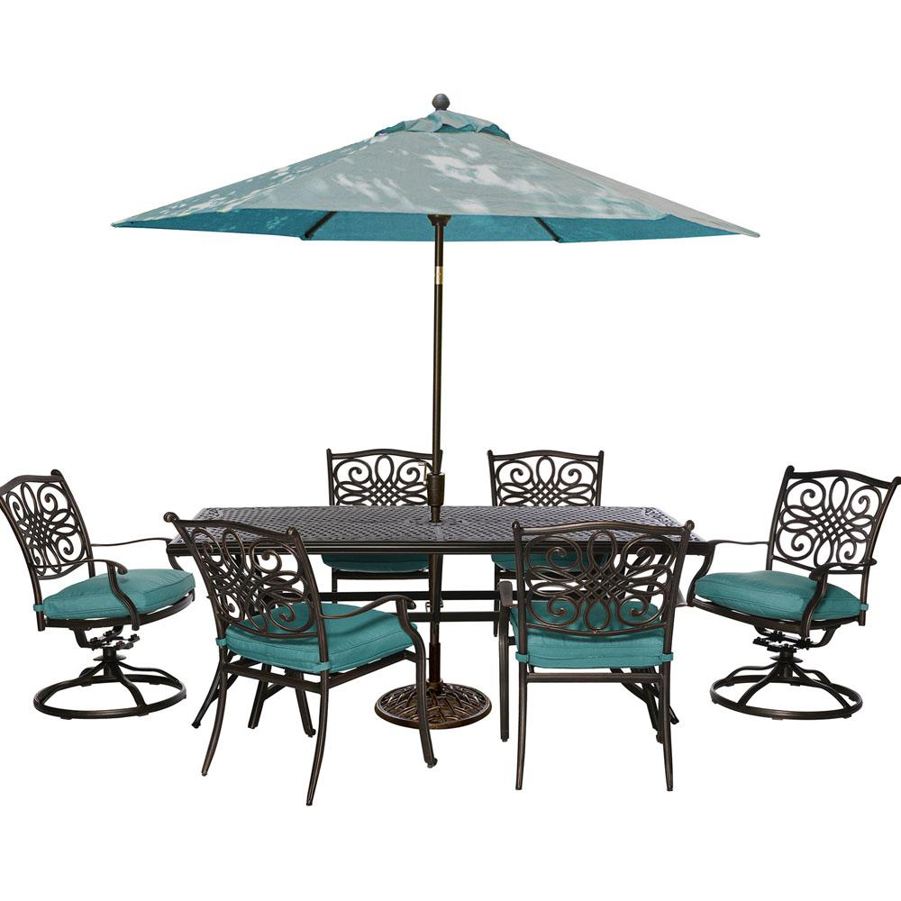 patio dining sets furniture the hanover spring haven umbrella accent table traditions piece outdoor rectangular set swivel rockers hobby lobby stainless steel target and chairs