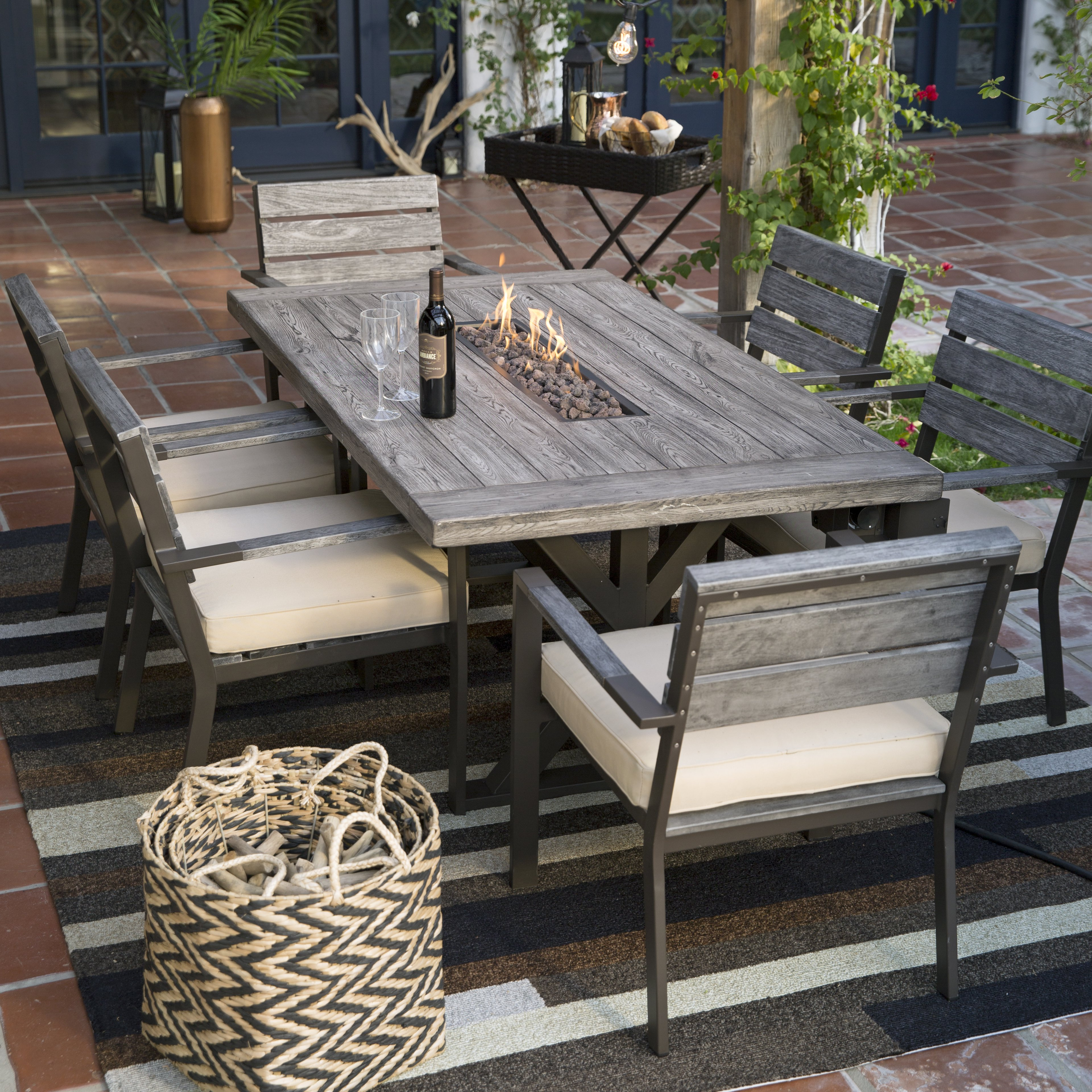 patio dining sets master wicker storage accent table belham living silba piece envirostone fire pit set mosaic top coffee extra tall shades light coupon astoria large white very