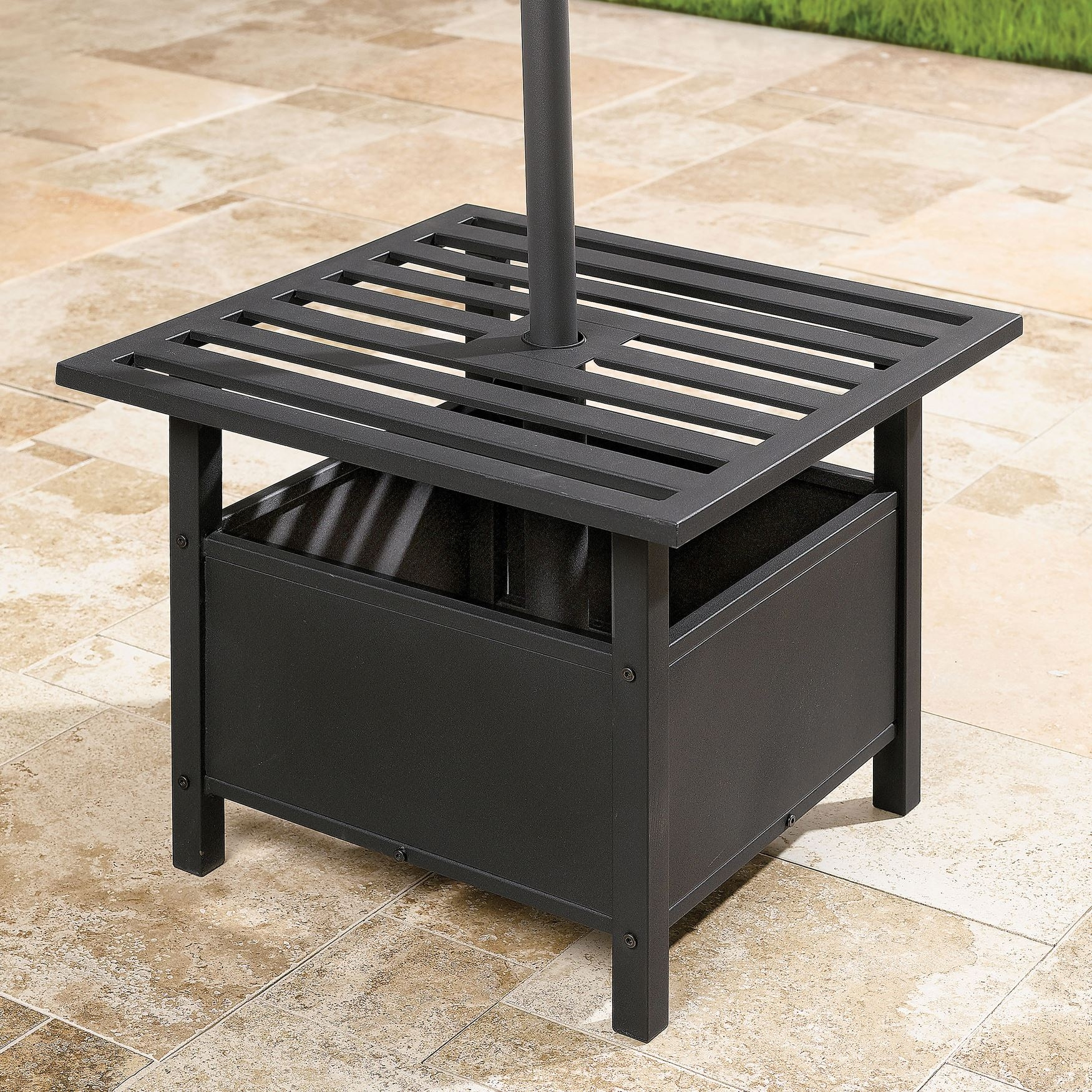 patio end table with umbrella hole stand side luxury umbrellas amp bases porch accent tables old antique trunks power lead hidden cat box piece dining set under home furnishings