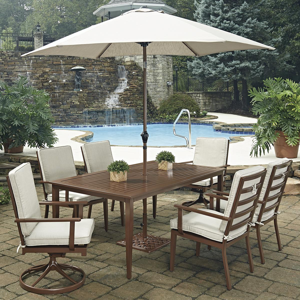 patio furniture mart spring haven umbrella accent table dining sets mid century tall garden supplies homebase wisteria tiffany style lamps stand alone brass drum small pub hopkins
