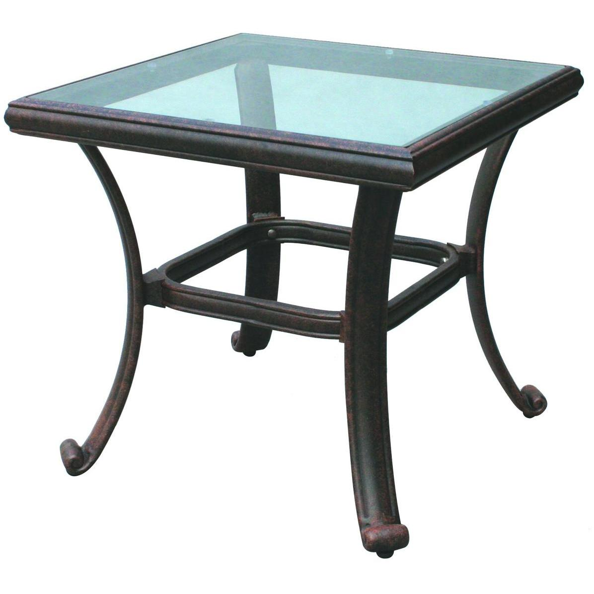 patio metal and glass end tables outdoor coffee table stone low side accent top west elm stools space saving beds for small rooms red plaid runner height rules jcpenney lamps